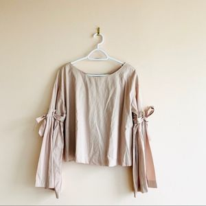 Free People Lilac Long Sleeve Tie Top